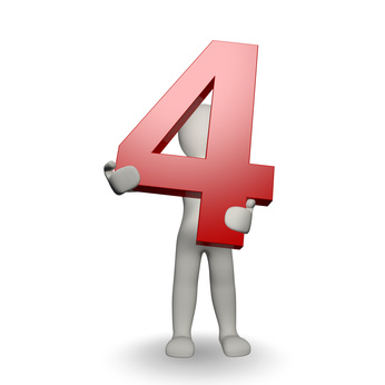 3D Human charcter holding number four